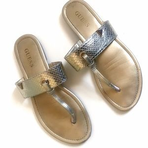 Authentic Guess Metallic Thong Sandals